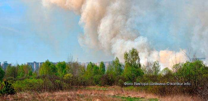 Бобруйском окутал дым от пожаров