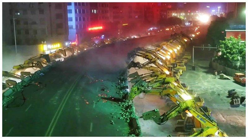 Могут ли 116 экскаваторов всего за две ночи снести громадную эстакаду? В Китае могут!