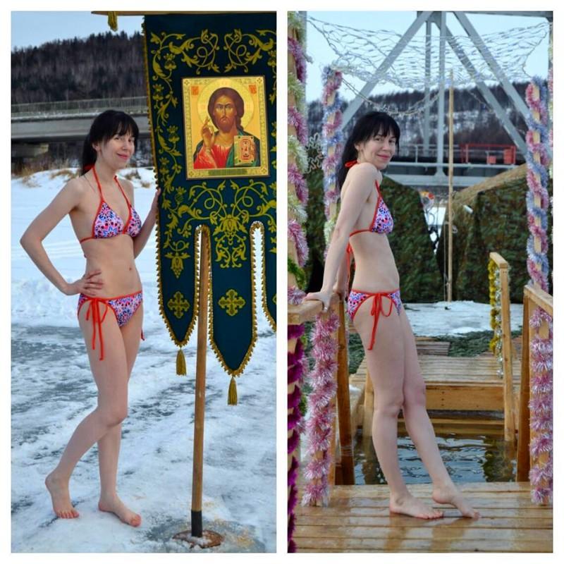 Православные красавицы прыгают в прорубь