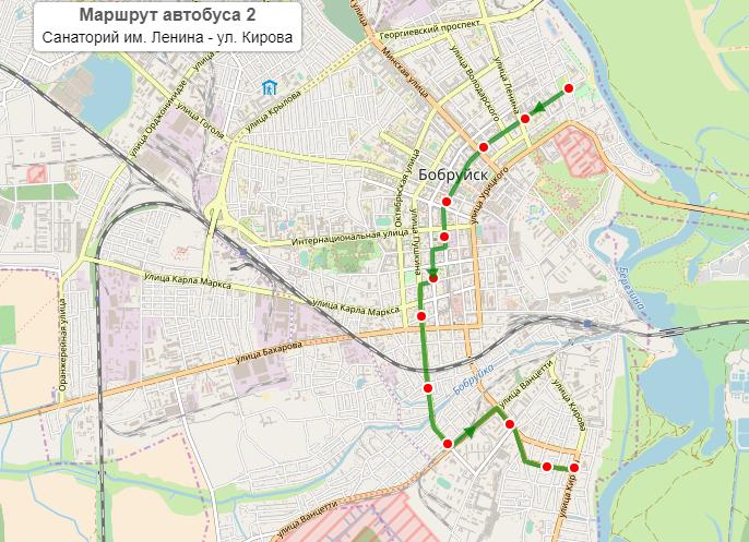 Городской автобус №2 бобруйск - рабочие дни