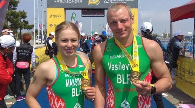 Белорусы Анна Максимова и Александр Василевич завоевали титул чемпионов Азии по триатлону