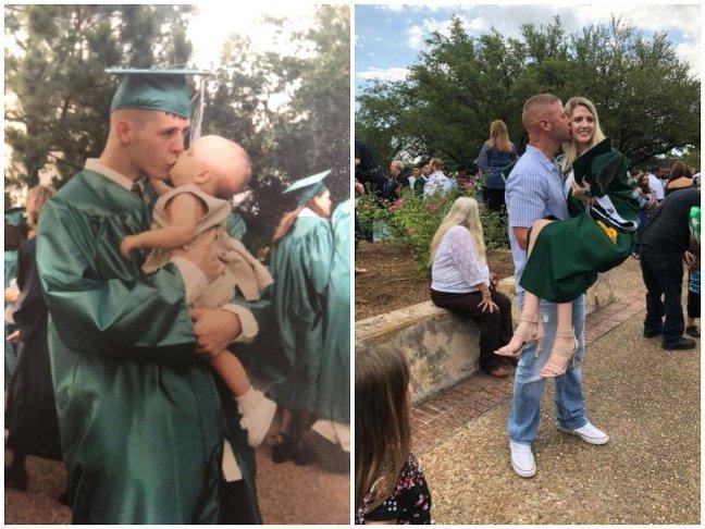 Необычное выпускное фото. Отец и дочь повторили снимок через 18 лет