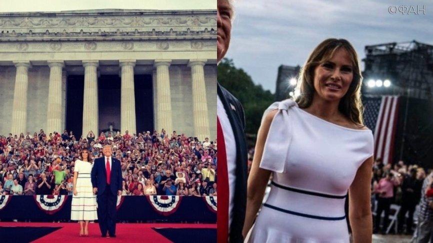 Промокшая Меланья Трамп вышла к американцам в День независимости без нижнего белья