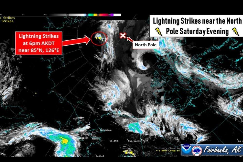 Молния ударила в районе Северного полюса 48 раз